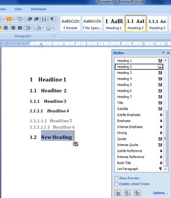 how to create automatic table of contents in word