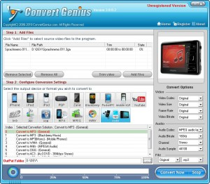 Convert Genius Startscreen - 3GA to MP3