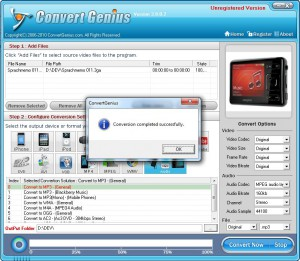 Convert Genius finished success - 3GA to MP3