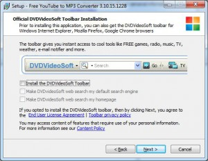 Free YouTube to MP3 Converter - Toolbar Installation disable checkbox