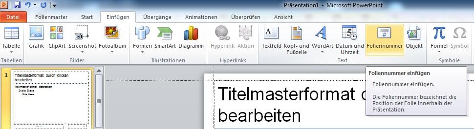 Erstellen einer PowerPoint Präsentationsvorlage – 3. Seitenzahl / Foliennummer einfügen