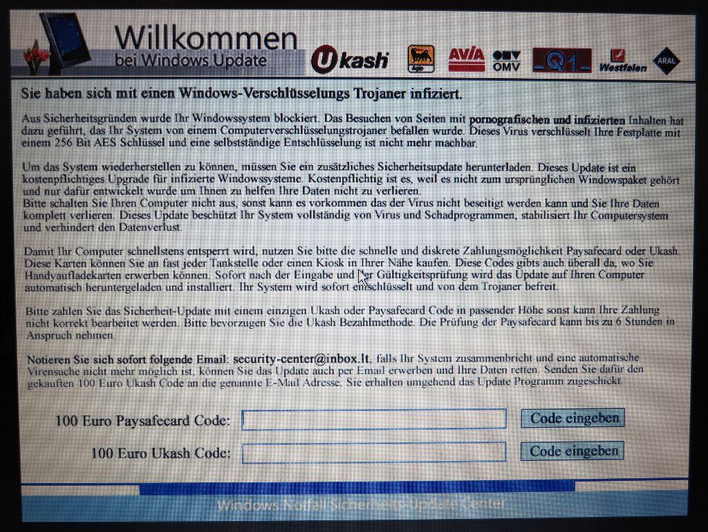 Willkommen bei Windows Update – Schädling / Virus / Trojanisches Pferd