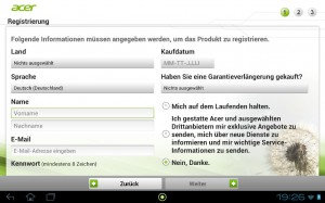 Acer ICONIA Tablet A700 Registrierung