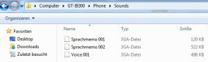 Samsung Galaxy S3 voice records 3GA file