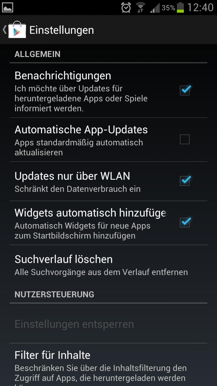 Samsung Galaxy S3 – Automatische Updates für Apps deaktivieren