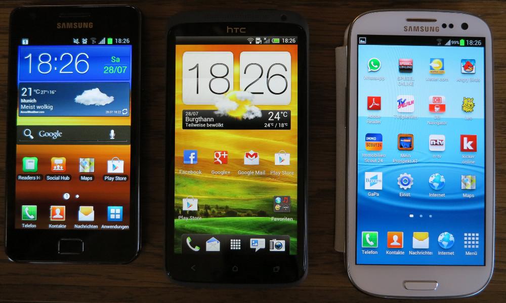 HTC One X vs. Samsung Galaxy S2 und Galaxy S3