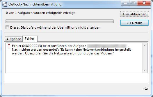 Outlook versendet keine Mails – Fehler 0x800CCC13