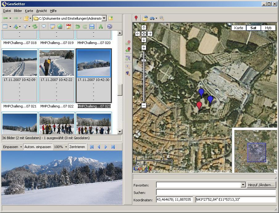 Mit Geosetter Geokoordinaten in Bildern speichern