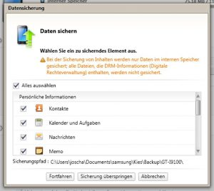 Firmeware Update - Kies Daten sichern