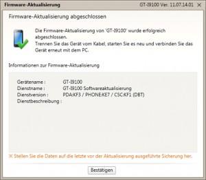 Firmeware Update - Kies Firmeware-Aktualisierung abgeschlossen