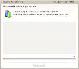 Firmeware Update - Kies Firmeware-Aktualisierungfortschritt