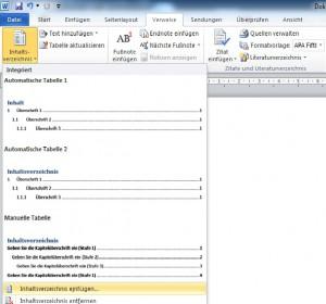 Automatisches Inhaltsverzeichnis einfügen