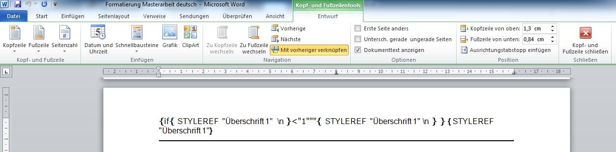 word 2011 mac kopfzeile linie