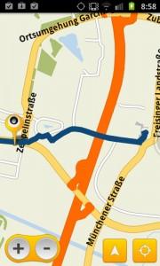 Skobbler - Kartensicht mit Route