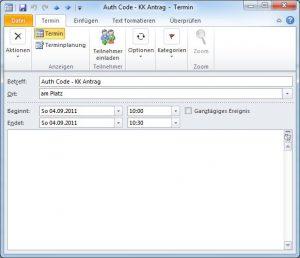 Outlook 2010 Kalender Eintrag