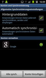 Samsung Galaxy S2 - Google Account synchronisieren