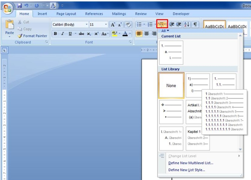 how to make automatic table of contents in word
