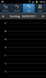 leerer Samsung Galaxy S2 Kalender