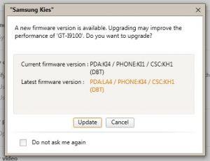 Samsung Kies - Firmware update