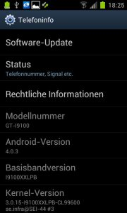 Samsung Galaxy S2  - Ice Cream Sandwich 4.0.3 XXLPB