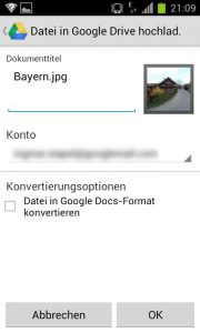 Google Drive - Datei upload
