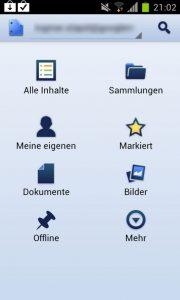 Google Drive - Menü