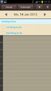Aufgabe im S Planner Kalender