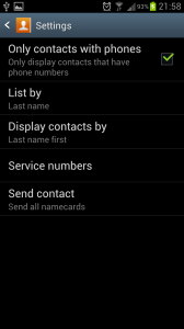 Contacts list by last name