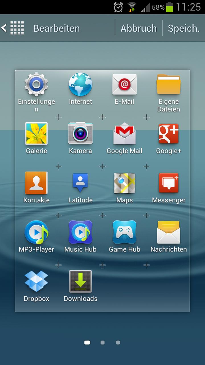 Samsung Galaxy S3 – Menue Icons neu anordnen