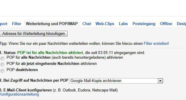 GMail Einstellung nur neue E-Mails anzeigen auf Samsung Galaxy S3