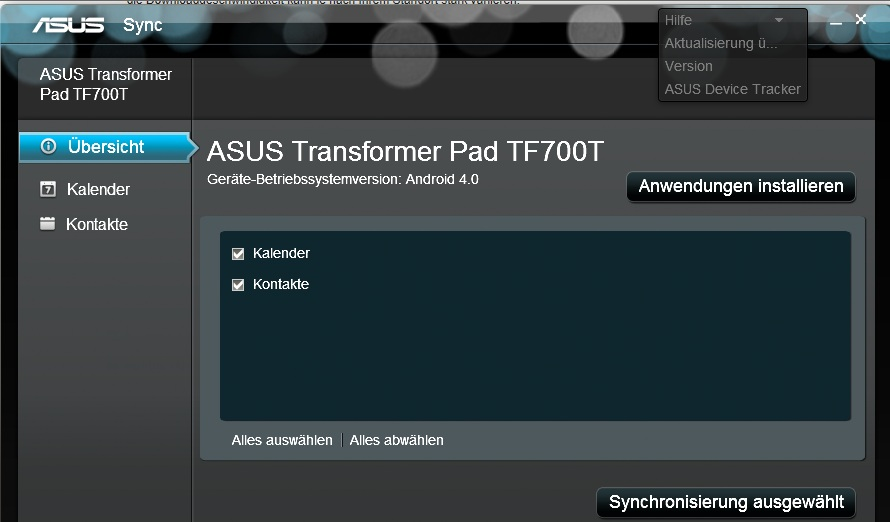 ASUS Transformer TF700t synchronisieren mit Outlook