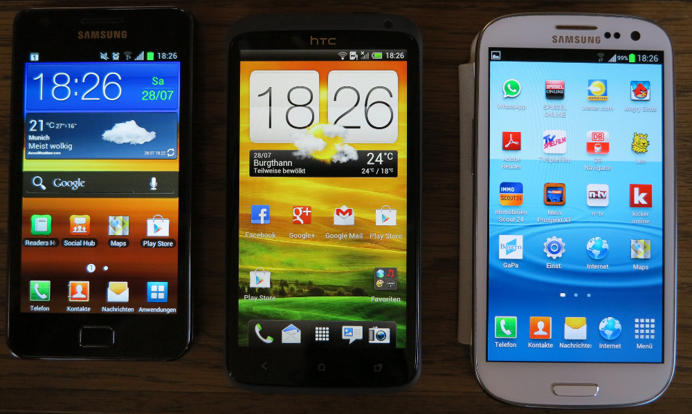 HTC One X vs. Samsung Galaxy S2 und Galaxy S3