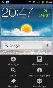 Samsung Galaxy Ace 2 Startbildschirme bearbeiten