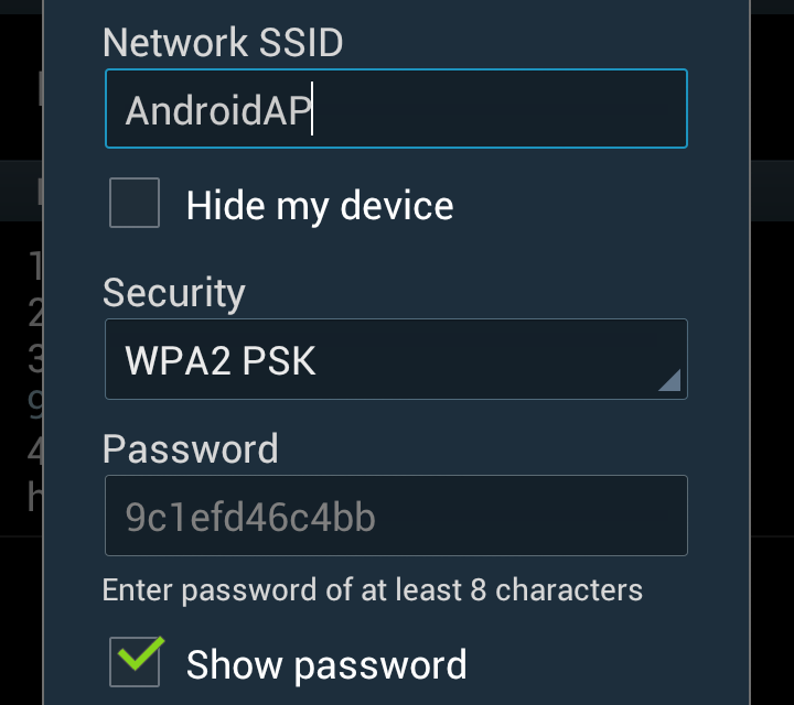 Samsung Galaxy S3 – setup portable Wifi Hotspot and change password