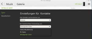 HTC Sync Manager Synceinstellung Kontakte
