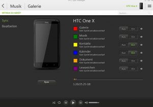HTC Sync Manager Synchronisationsmenue