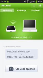 AirDroid - Startscreen