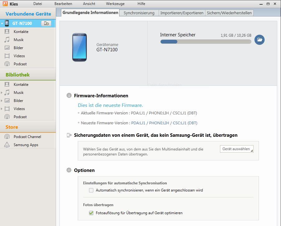 Samsung Galaxy Note 2 – Kies Kontakte synchronisieren mit Microsoft Outlook