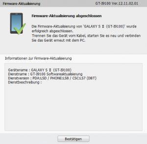 GALAXY S II GT-I9100 - Firmware-Aktualisierung abgeschlossen