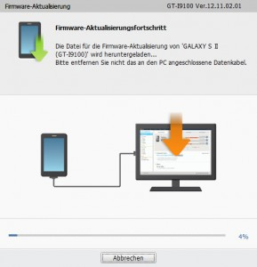 GALAXY S II GT-I9100 - Vorbereitung Firmware-Aktualisierungsfortschritt