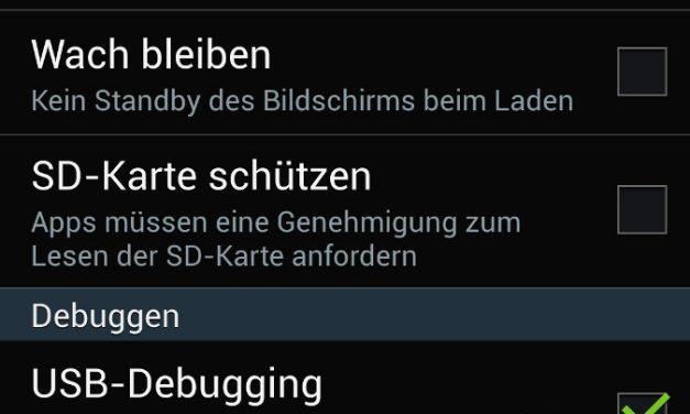 Android 4.2.2 – USB Debugging aktiviert