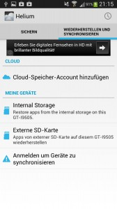Helium Backup - Android Applikation