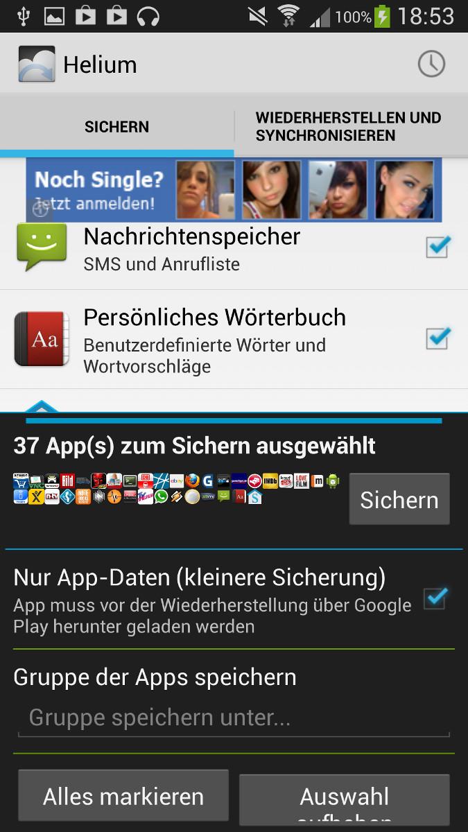 Android Backup Programme im Test – Helium Backup Testbericht