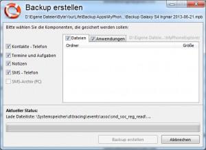 MyPhoneExplorer - Backup erstellen
