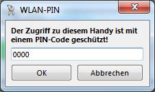 MyPhoneExplorer - Verbindung W-Lan PIN Abfrage
