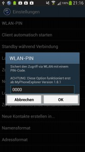 MyPhoneExplorer - WLAN-PIN