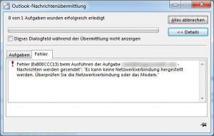 Office 2013 Fehler  0x800CCC13 - Mail versenden