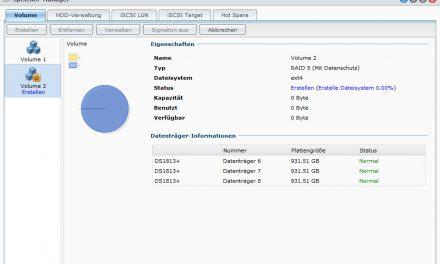 Erstellen von RAID5-Volumes auf Synology NAS DS1813+
