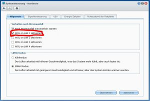 Synology - Diskstation DS 1813+ Allgemein WakeOnLan WOL