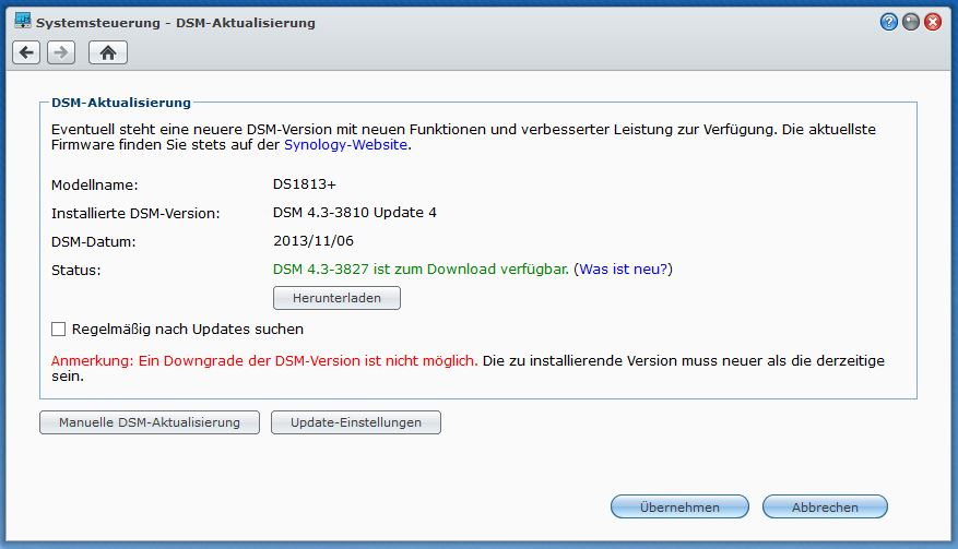 Synology Diskstation – DSM-Update